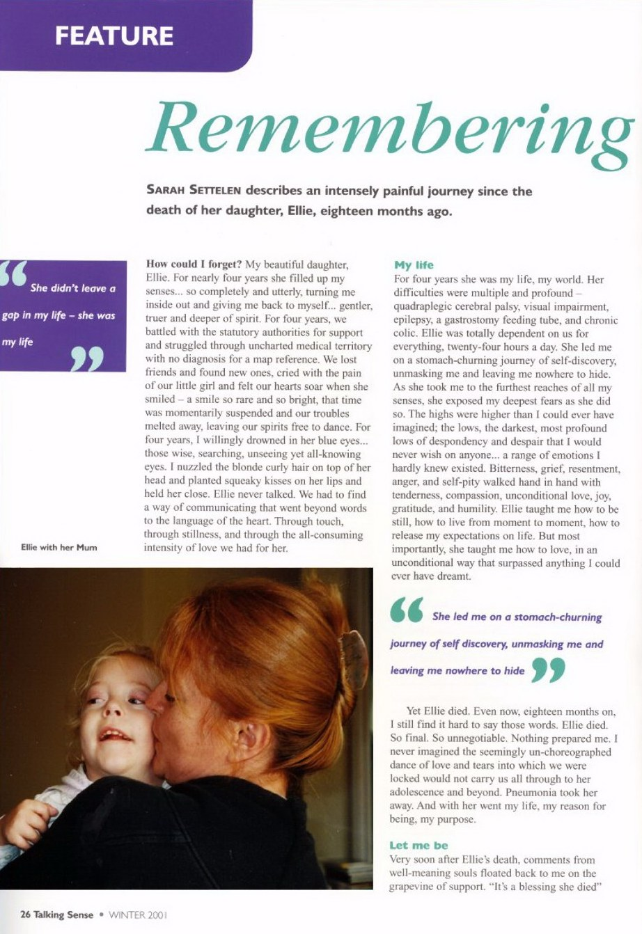 Page1 small of Sarah Settelen's article Remembering Ellie
